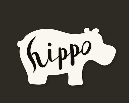 Flat icon of a hippo. Vector illustration. Handwritten inscription. Standard-Bild - 110684173
