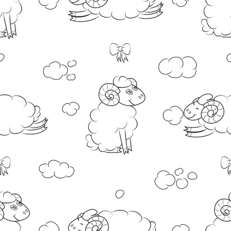 Cute sheep in the clouds. Comic Wallpaper for kids. Vector illustration.