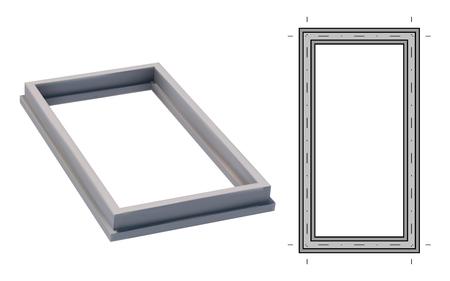Blueprint and 3D image strip foundation. Concrete structure. Vector illustration