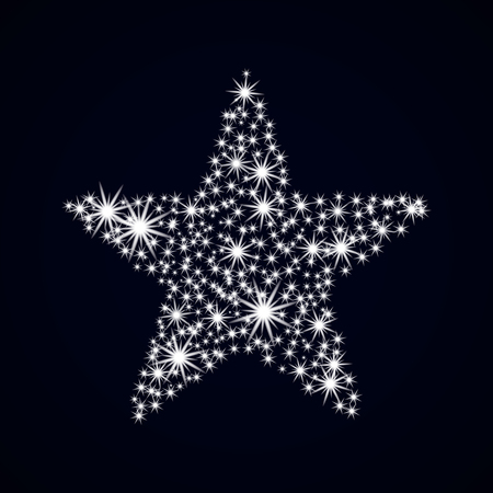 Abstract star nighttime. Glowing spangle. Christmas Card. Vector illustration New year. Illustration