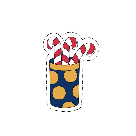 Christmas gift candy. Sticker for the New Year. Vector illustration present.