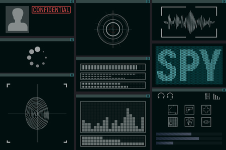 Software for the spy. Monitor vector illustration. Detective intelligence. Illustration