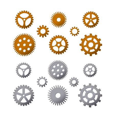 Set of gears. Brass and steel. Vector illustration. Details of cars and watches. Steampunk design.