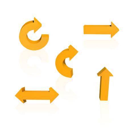 Set of arrows. Threedimensional. Orange color Vector illustration