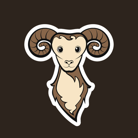 Head of a mutton. Drawing on a black background. Vector illustration sticker.