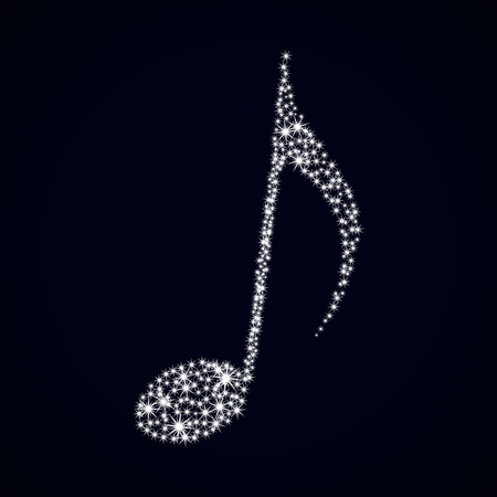 Glitter music note. Vector illustration. Stars on dark background.