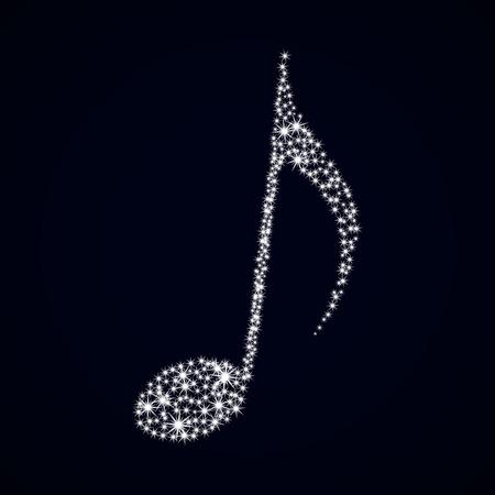 Glitter music note. Vector illustration. Stars on dark background.