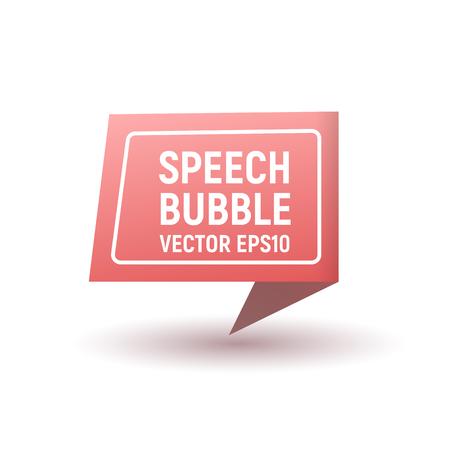 Bubble speech pink. Vector illustration. 3d icon