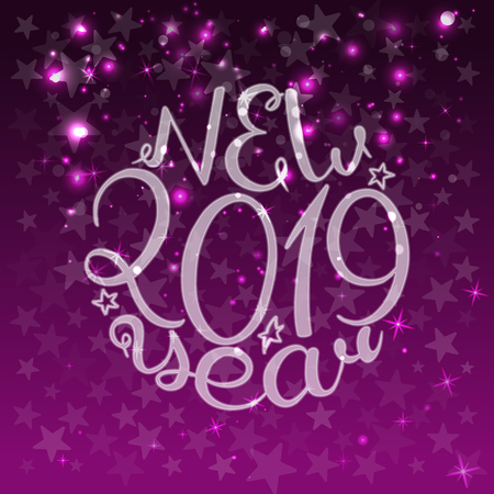 2019. Happy New Year. Lettering text. Vector illustration purple background