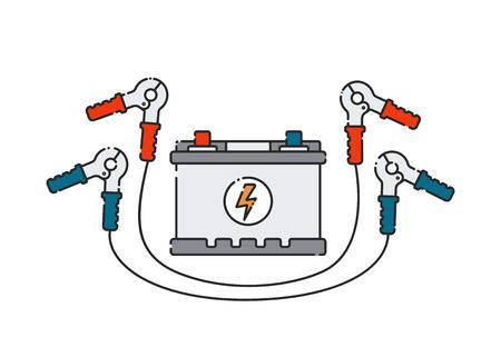 Batterie de voiture. Icône plate abstraite. Illustration vectorielle. Source de courant