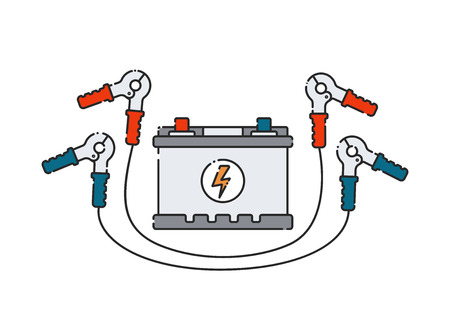 Car battery. Flat abstract icon. Vector illustration. Power supply