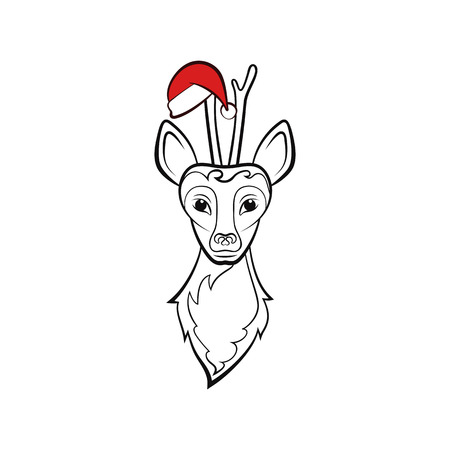 Head of a roe deer. Vector illustration. New Year animals. Ilustracja