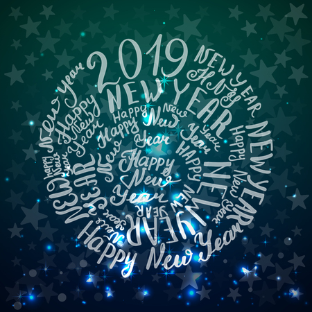 2019. Happy New Year. Lettering text. Vector illustration Blue background