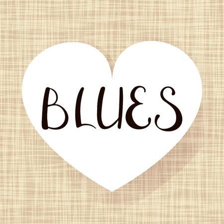 Pair dance blues. Music Vector illustration. Lettering on heart shape.