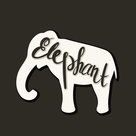 Flat icon of a elephant. Vector illustration. Handwritten inscription. Standard-Bild - 110684663