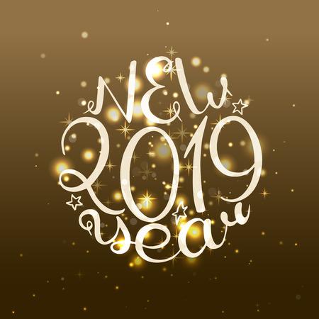 2019 New Year. Handwritten words. Vector illustration. Gold glow background