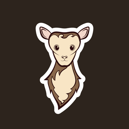 Head of a young sheep. Drawing on a black background. Vector illustration sticker.