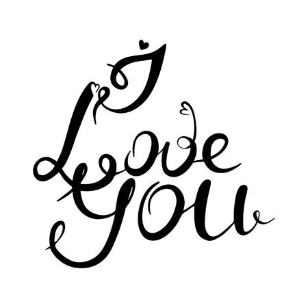 I love you. Calligraphy vector illustration. Valentine day. Black color Standard-Bild - 111134167