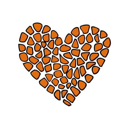 Giraffe print skin in the shape of a heart. Vector illustration. Valentines day. Greeting card. Foto de archivo - 111134175