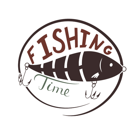 Fishing time. Wobbler lure for fish. Simple icon. Vector illustration
