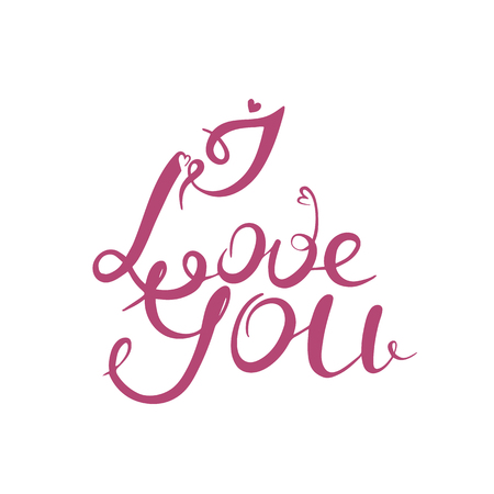 I love you. Calligraphy vector illustration. Valentine day. Pink color
