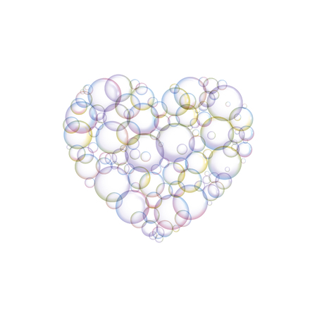 Bubbles soap in the form of hearts. Vector illustration. I love cleanup.