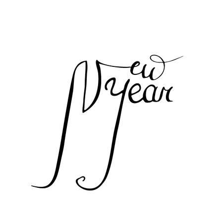 The New Year Is 2019. Calligraphy vector illustration. Beautiful handwritten font. Illustration