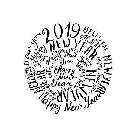 2019 New Year. Handwritten words Vector illustration christmas Standard-Bild - 111418566