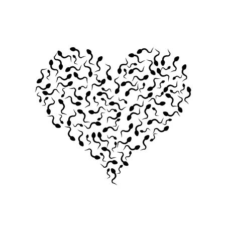 Nasienie w kształcie serca. Ilustracja wektorowa. Walentynki.