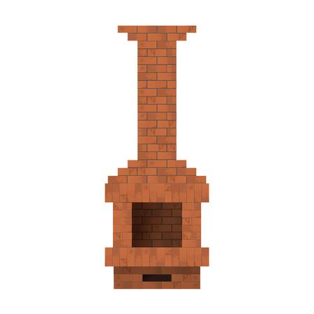 Fireplace of bricks. Vector illustration. Heating homes