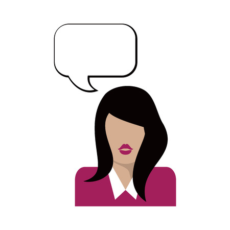 Flat woman icon. Bubble speech. Vector illustration Discussion