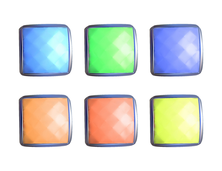 Colorful square gems. Vector illustration. Set of expensive stones