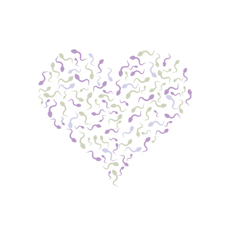 Spermatozoa in the shape of heart. Vector illustration. Pregnancy and reproduction Illustration