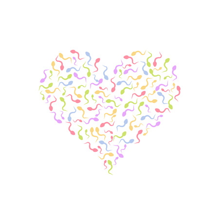 Sperm in the shape of heart. Vector illustration. Pregnancy and reproduction