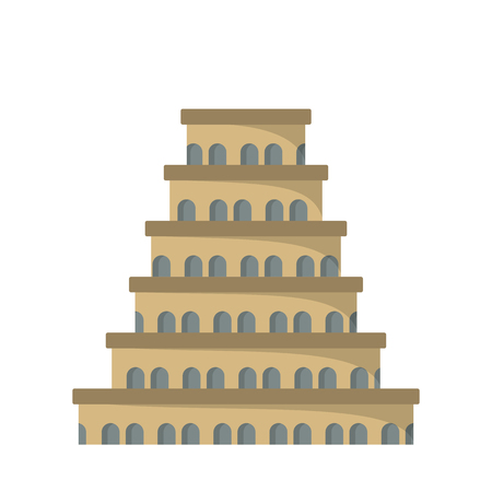 Flat icon of the tower of Babel. Vector illustration. Christianity.