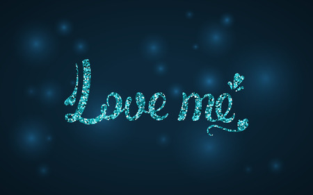Love me calligraphy. Blue sequins. Vector illustration. Valentine day. Greeting card