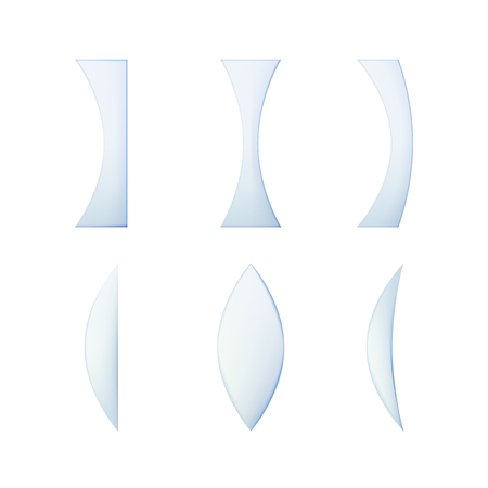 Set of glass lenses of different cross sections. Vector illustration. Collection of optical vitreous. Ilustração