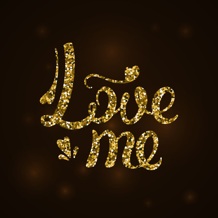 Love me the inscription in gold sequins. Vector illustration. Valentine day.