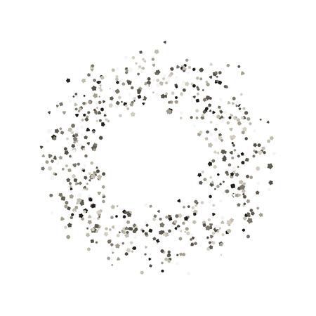 Glitter round frame. Vector illustration. Silver confetti