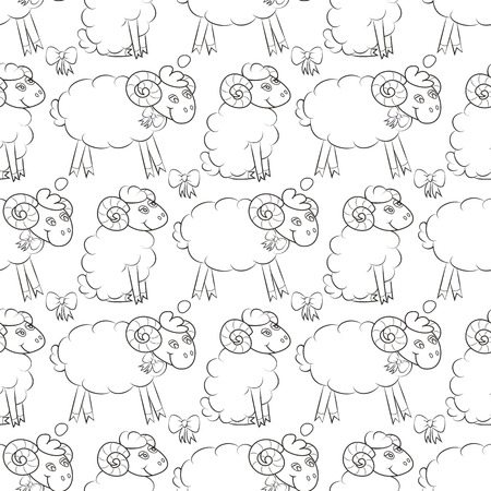 Furry sheep flying in the sky with clouds. Cute baby Wallpaper . Vector illustration. Seamless pattern background.