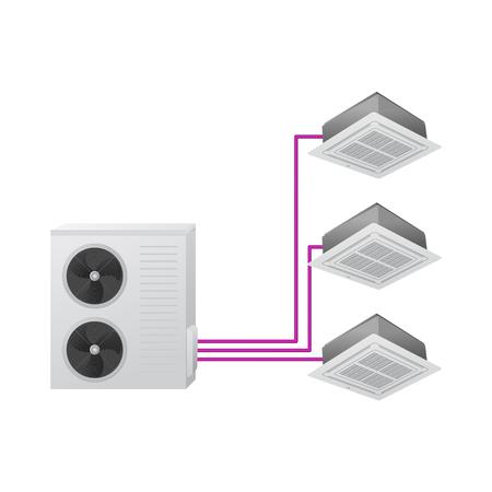 Die Klimaanlage. Vektor-Illustration. Mehrfach aufgeteilt. Ein Außen- und drei Innengeräte. Deckenkassette.