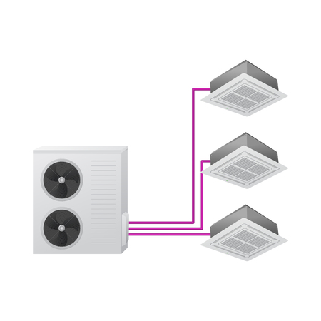 The air conditioning system. Vector illustration. Multi split. One outdoor and three indoor unit. Ceiling Cassette.