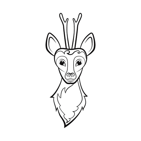 Head of a roe deer. Drawing on a white background. Vector illustration. Animals wildlife design. Stock Illustratie