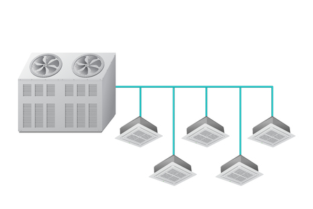 Chiller with Ceiling Cassette indoor units. Air cooling. Vector illustration.