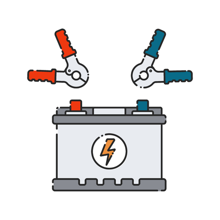 Car battery. Flat abstract icon. Vector illustration. Electrical power generator