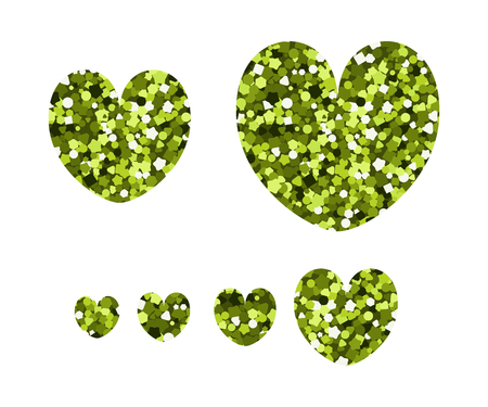 Set of luxury icons in the shape of hearts. Vector illustration. Yellow spangle.