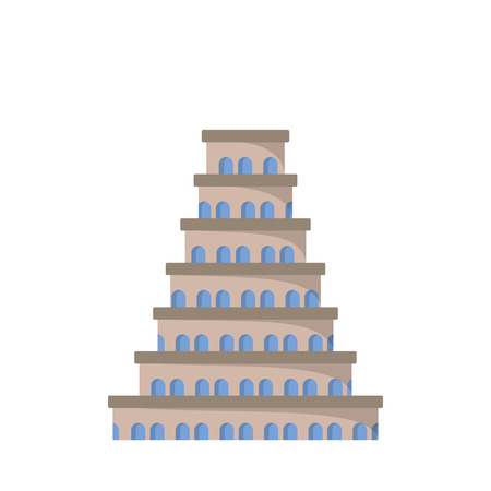 Flat icon of the tower of Babel. Vector illustration. Biblical legend. Illustration