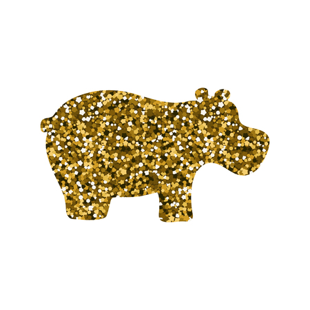 Silhouette of a hippopotamus. Vector illustration. Simple icon. Gold sequins