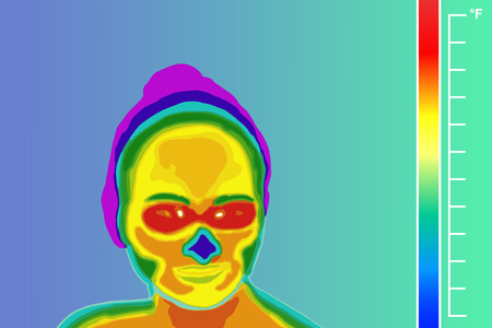 Thermal imager medical scan. Human face vector illustration. The image of a men arm using Infrared Thermograph. Scale is degrees Fahrenheit. Illustration