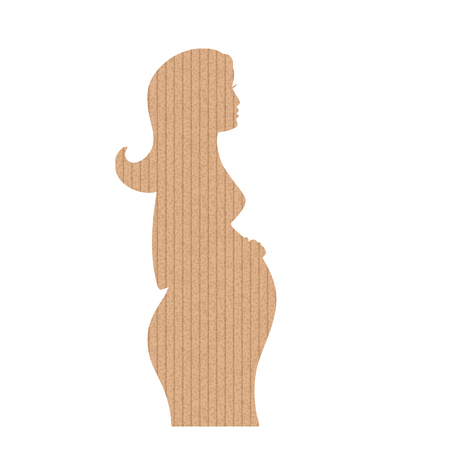 The cardboard in the shape of pregnancy woman. Vector illustration. Vintage icon.